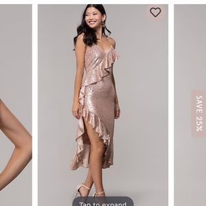 Simplydress Dresses - Simplydress rose gold sequins with ruffles